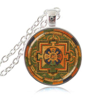 Sacred Geometry Sri Yantra Pendant Necklaces Style 3 Silver / 45cm Necklace