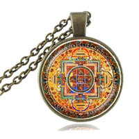 Sacred Geometry Sri Yantra Pendant Necklaces Style 4 Bronze / 45cm Necklace