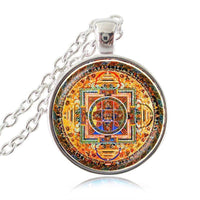 Sacred Geometry Sri Yantra Pendant Necklaces Style 4 Silver / 45cm Necklace