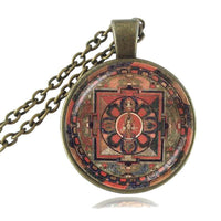 Sacred Geometry Sri Yantra Pendant Necklaces Style 5 Bronze / 45cm Necklace