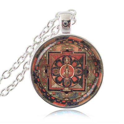Sacred Geometry Sri Yantra Pendant Necklaces Style 5 Silver / 45cm Necklace