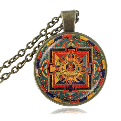 Sacred Geometry Sri Yantra Pendant Necklaces Style 6 Bronze / 45cm Necklace