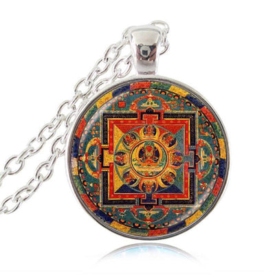 Sacred Geometry Sri Yantra Pendant Necklaces Style 6 Silver / 45cm Necklace