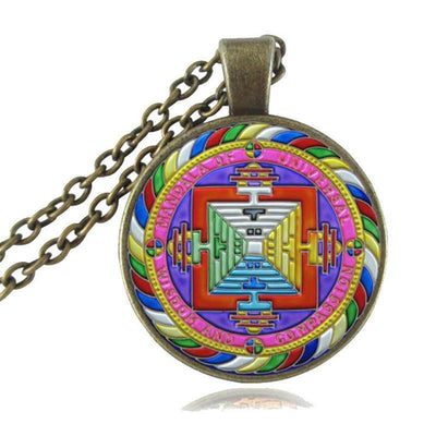 Sacred Geometry Sri Yantra Pendant Necklaces Style 7 Bronze / 45cm Necklace