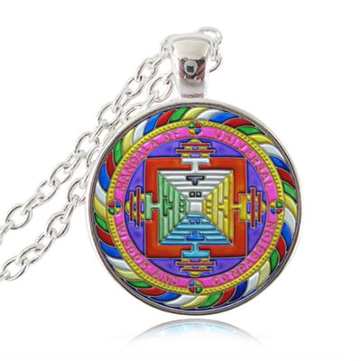 Sacred Geometry Sri Yantra Pendant Necklaces Style 7 Silver / 45cm Necklace