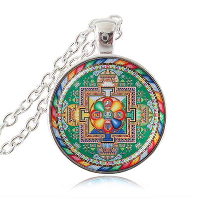 Sacred Geometry Sri Yantra Pendant Necklaces Style 9 Silver / 45cm Necklace