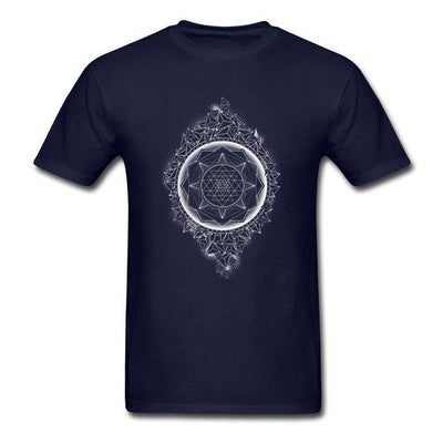 Sacred Geometry Sri Yantra T-shirt Navy Blue / S Clothing