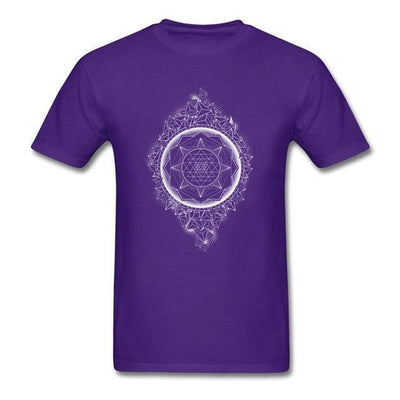 Sacred Geometry Sri Yantra T-shirt Purple / S Clothing