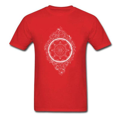 Sacred Geometry Sri Yantra T-shirt Red / S Clothing