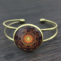 Sacred Sri Yantra Adjustable Bangle Bracelet