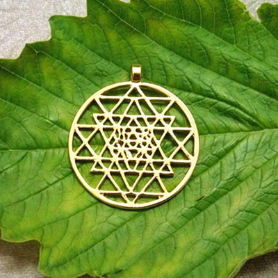 Sacred Sri Yantra Meditation Silver Pendant Necklace Gold Sri Yantra Necklace