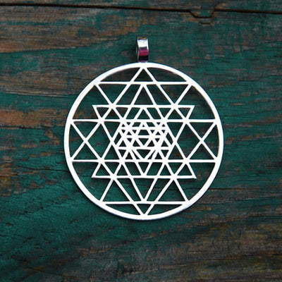 Sacred Sri Yantra Meditation Silver Pendant Necklace Silver Sri Yantra Necklace