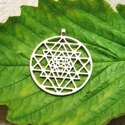 Sacred Sri Yantra Meditation Silver Pendant Necklace Sri Yantra Necklace