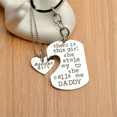 """She Stole My Heart"" Necklace & Keychain Set Daddy 1 Keychains"