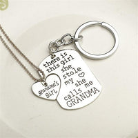 """She Stole My Heart"" Necklace & Keychain Set Grandma Keychains"