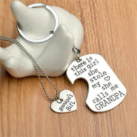 """She Stole My Heart"" Necklace & Keychain Set Grandpa Keychains"