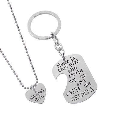"""She Stole My Heart"" Necklace & Keychain Set Keychains"