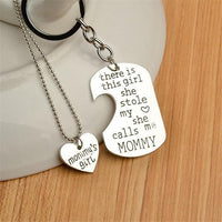 """She Stole My Heart"" Necklace & Keychain Set Mommy 1 Keychains"