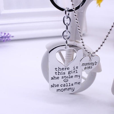 """She Stole My Heart"" Necklace & Keychain Set Mommy 2 Keychains"