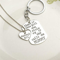 """She Stole My Heart"" Necklace & Keychain Set Mummy Keychains"