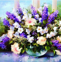 Shimmering Flowers DIY Diamond Painting Purple Hyacinth with Pink Flowers and White Bell Flower / 30*30cm Decor