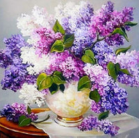 Shimmering Flowers DIY Diamond Painting Purple Lilac / 30*30cm Decor