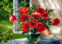 Shimmering Flowers DIY Diamond Painting Red Poppy / 30*30cm Decor