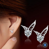 Silver Angel Wings Crystal Stud Earrings Earrings