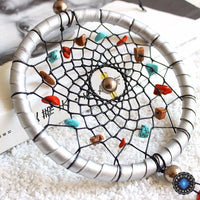 Silver Moon Rattan Dream Catcher With Natural Stone Accents Dreamcatchers