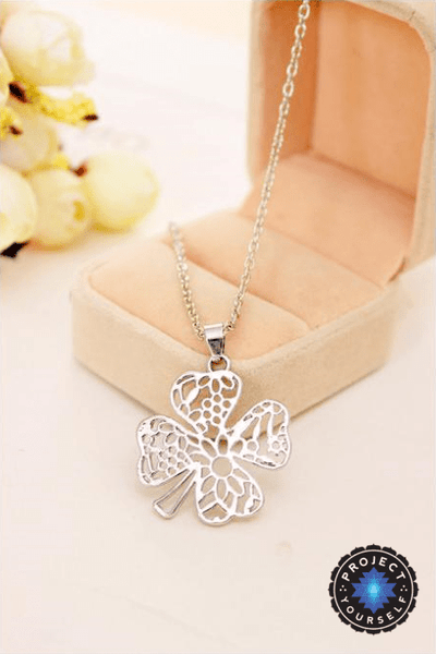 Silver Plated Hollow Floral Lace Cut Clover Necklace Necklace