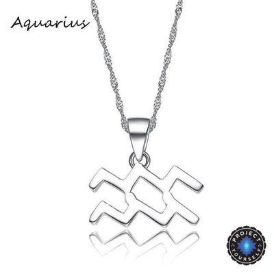 Silver Plated Zodiac Pendant Necklace Aquarius Necklace