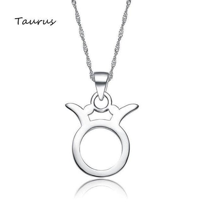 Silver Plated Zodiac Pendant Necklace Taurus Necklace