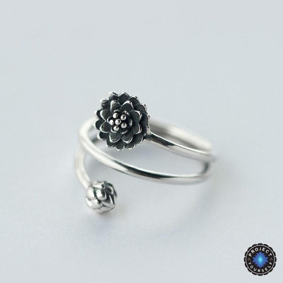 Silver Triple Wrap Lotus Ring Rings