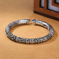 Sky Dragon Sterling Silver Bangle Bracelet