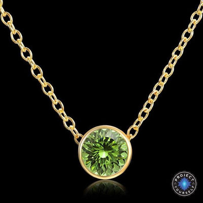 Solitaire Crystal Birthstone Gold Plated Necklace August Peridot Necklace