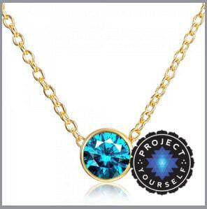 Solitaire Crystal Birthstone Gold Plated Necklace December Blue Necklace