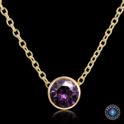 Solitaire Crystal Birthstone Gold Plated Necklace February Amethyst Necklace