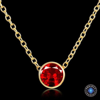 Solitaire Crystal Birthstone Gold Plated Necklace January Garnet Necklace