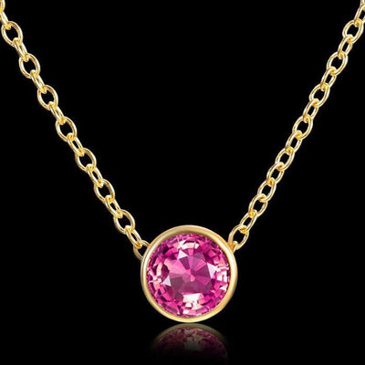 Solitaire Crystal Birthstone Gold Plated Necklace July Ruby Necklace