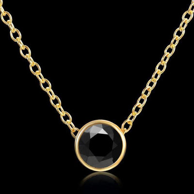 Solitaire Crystal Birthstone Gold Plated Necklace June Black Necklace