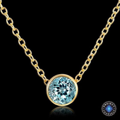 Solitaire Crystal Birthstone Gold Plated Necklace March Aquamarine Necklace