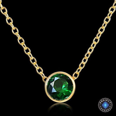 Solitaire Crystal Birthstone Gold Plated Necklace May Emerald Necklace
