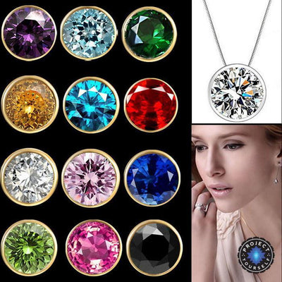 Solitaire Crystal Birthstone Gold Plated Necklace Necklace