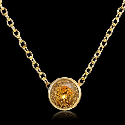 Solitaire Crystal Birthstone Gold Plated Necklace November Citrine Necklace