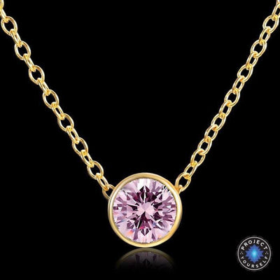 Solitaire Crystal Birthstone Gold Plated Necklace October pink Necklace