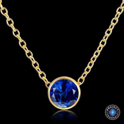Solitaire Crystal Birthstone Gold Plated Necklace September Sapphires Necklace