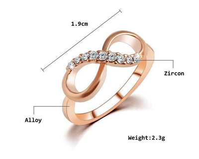 Sparkling Gold Dipped Infinity Ring Rings