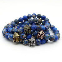 Spartan Beaded Blue Sea Sediment Stone Bracelet Bracelet