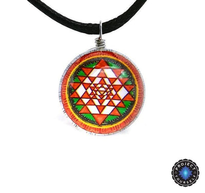 Sri Yantra Glass Globe Pendant Necklaces Sri Yantra Necklace