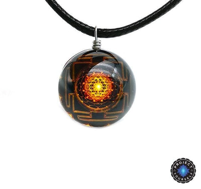 Sri Yantra Glass Globe Pendant Necklaces Style 1 Sri Yantra Necklace